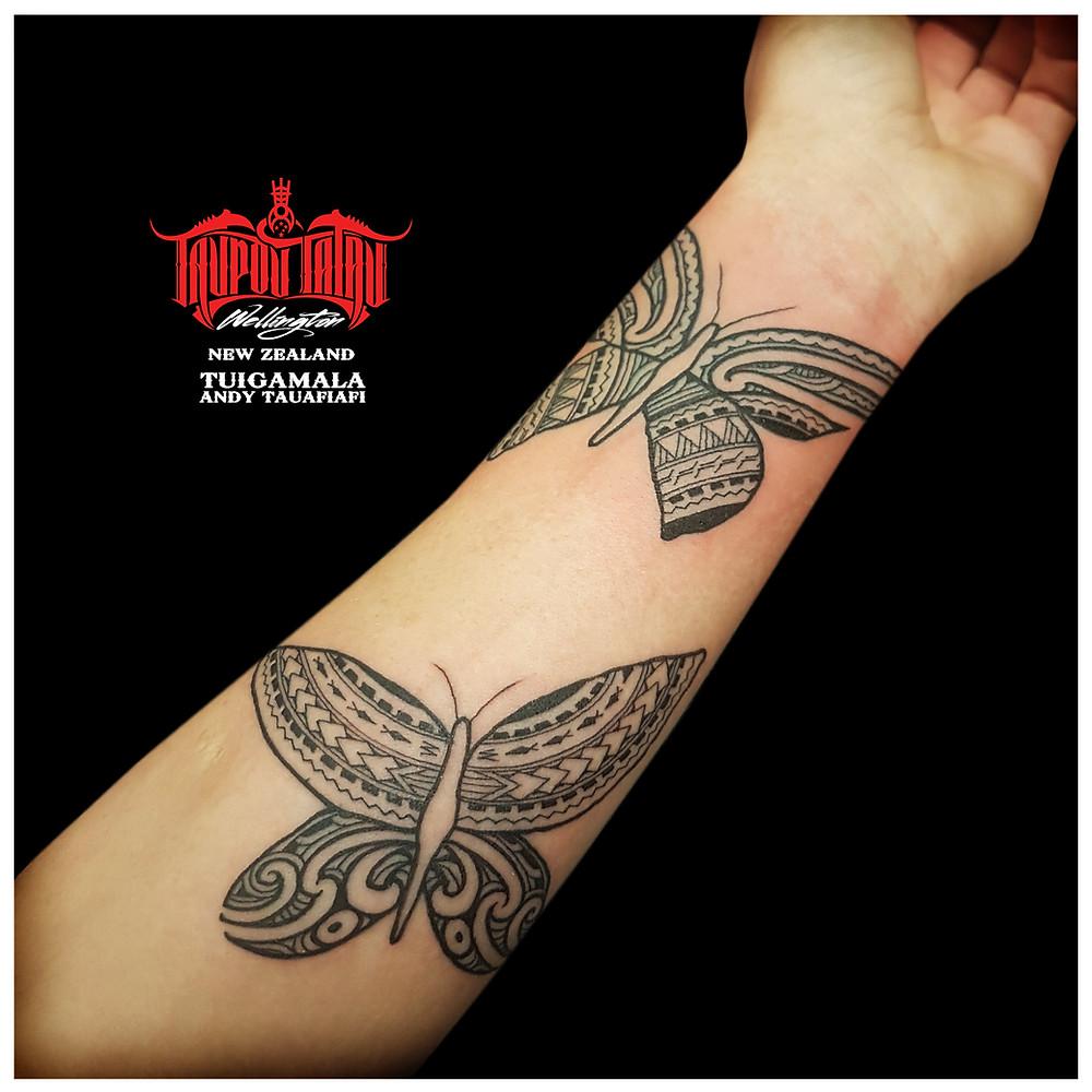 Samoan, Maori mixed butterfly tattoos