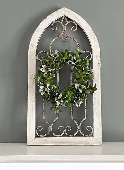 Distressed Cathedral Window with Succulent Wreath