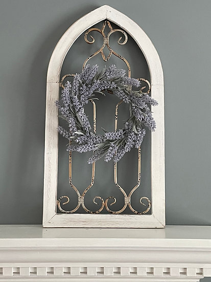 Cathedral Window with Lavender Wreath