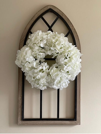 Artisan Cathedral Window with Hydrangea Wreath