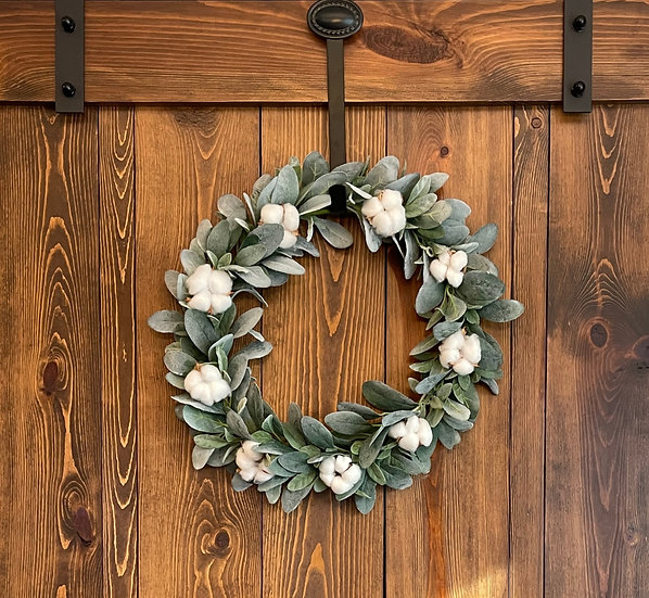 Lamb's Ear and Cotton Wreath