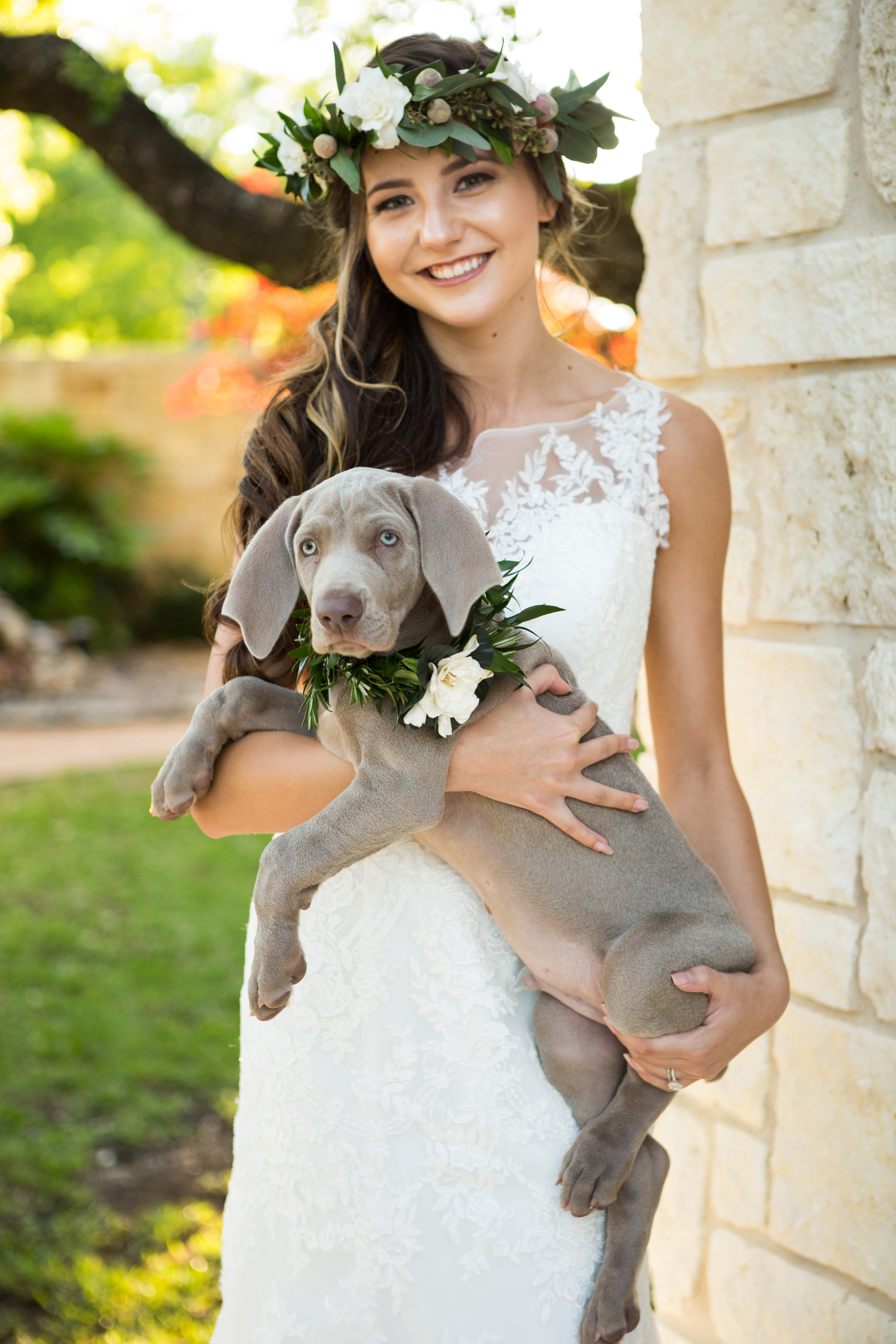 orange cathedralbride with puppy (1)