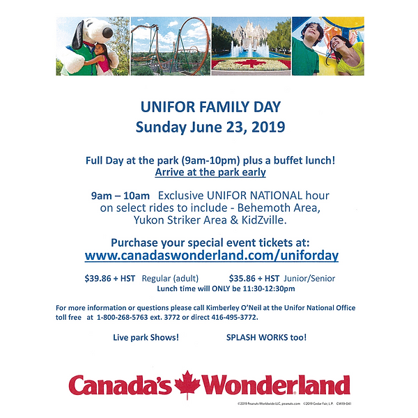 Unifor Family Day at Canada's Wonderland