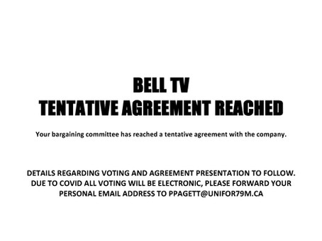 Bell TV Tentative Agreement Reached