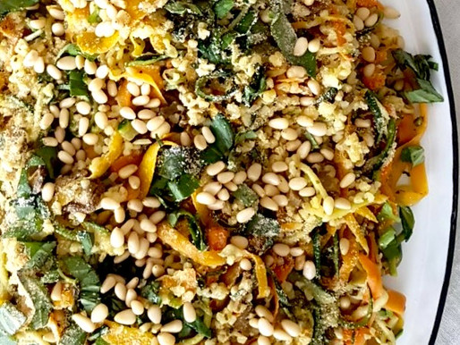 Signature Dish #1: Italian Inspired Garlicious Courgette, Carrots, Herbs & Nooch~ (recipe)