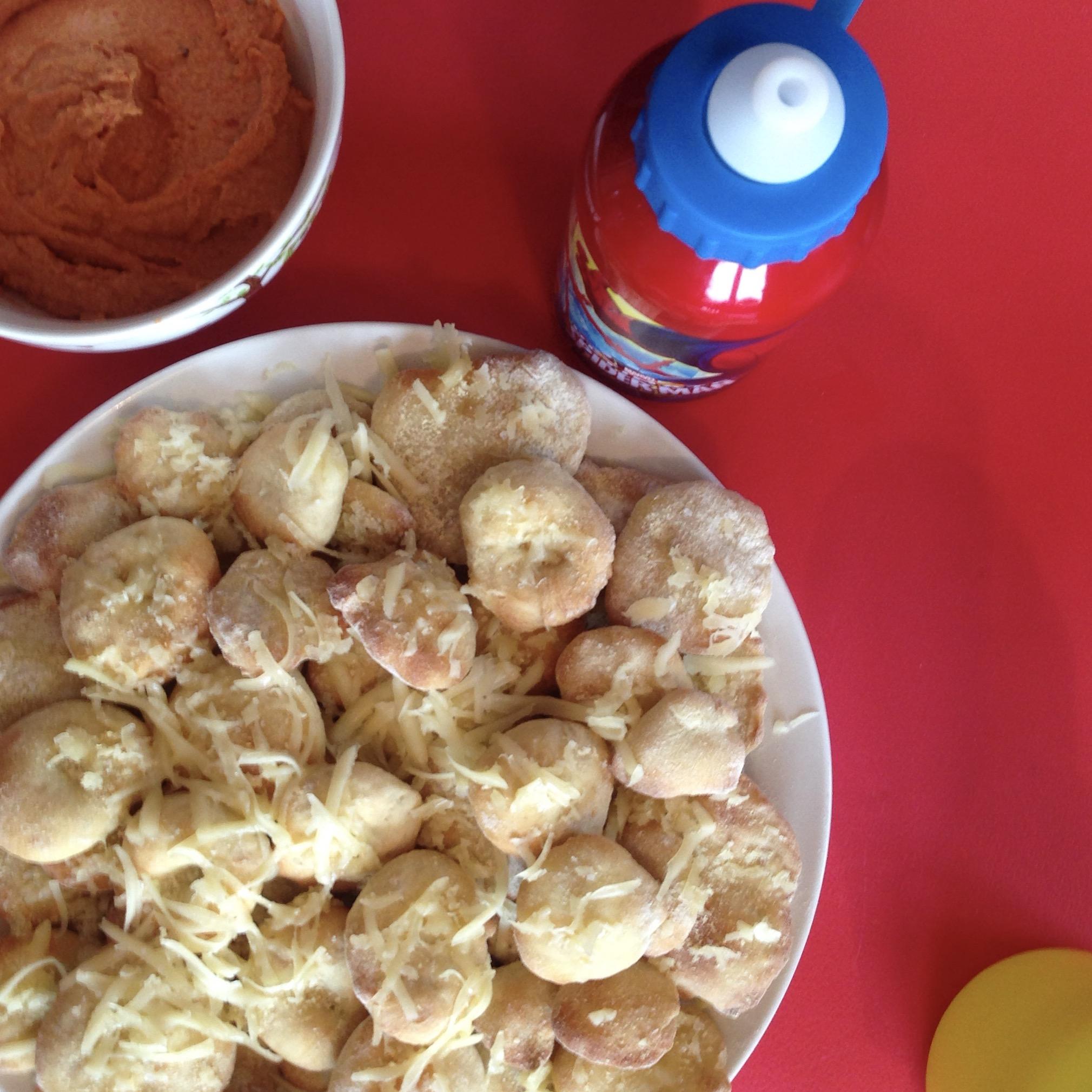 Mini Pita's with Cheese and Hummus