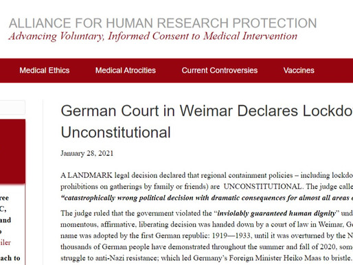 German Court in Weimar Declares Lockdown Unconstitutional
