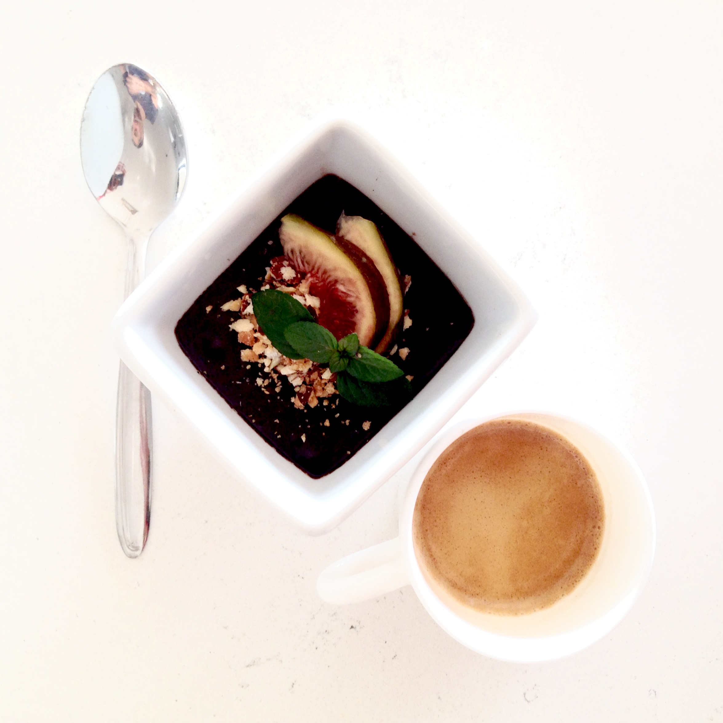 Chocolate Pot for One, With Fresh Figs,