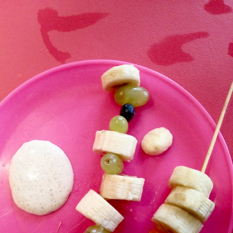 Fruit Kebabs with Marshmallow Sauce