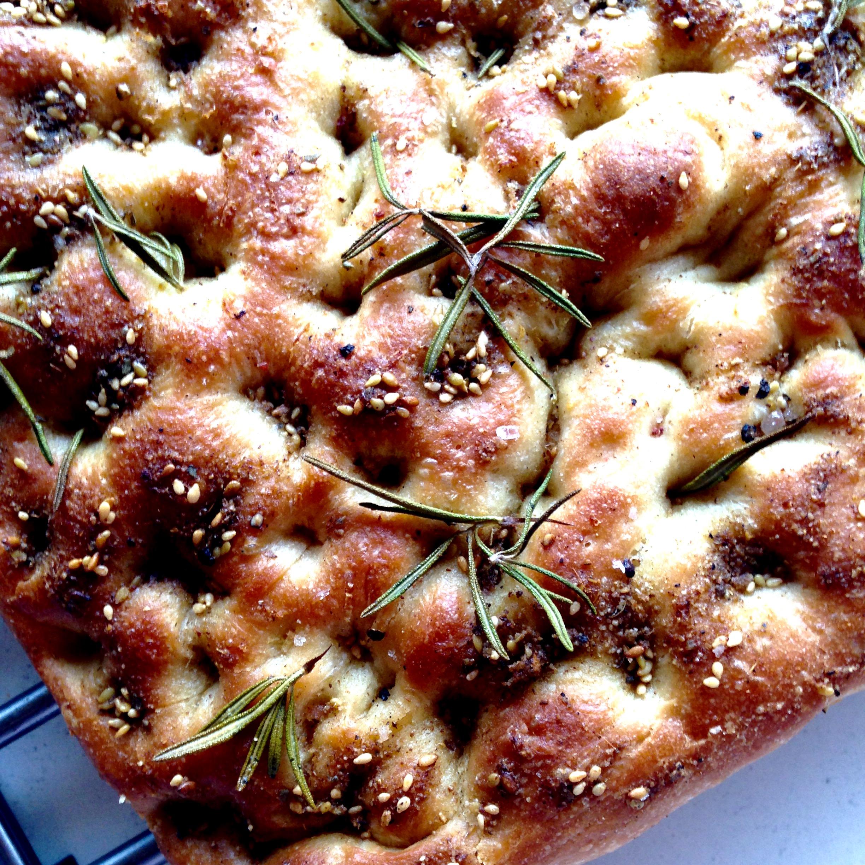 Za'atar, lemon & rosemary focaccia