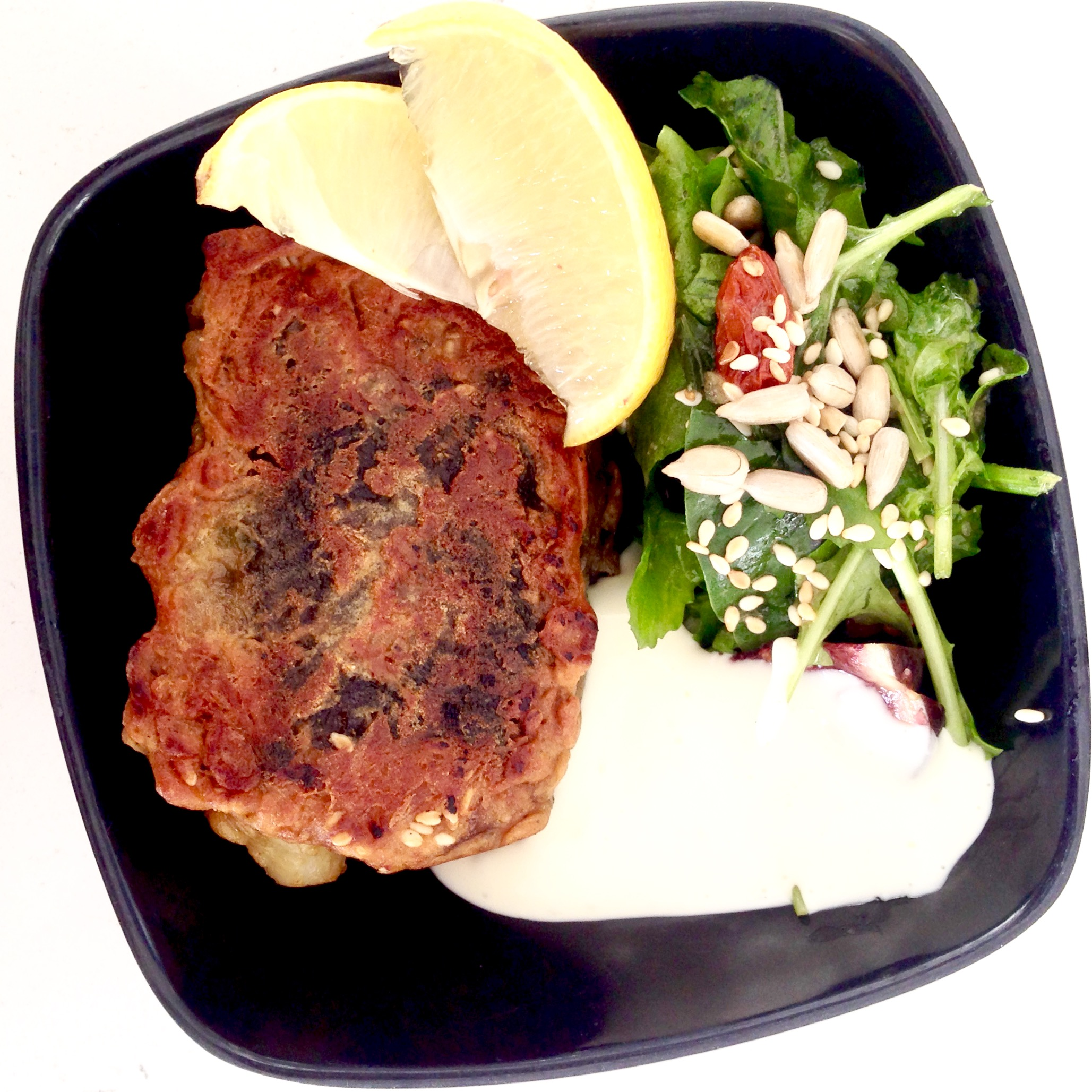 """Battered """"Fish"""" with Side Salad & Aioli"""