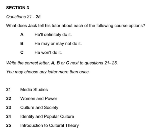IELTS Listening Matching Question example 2
