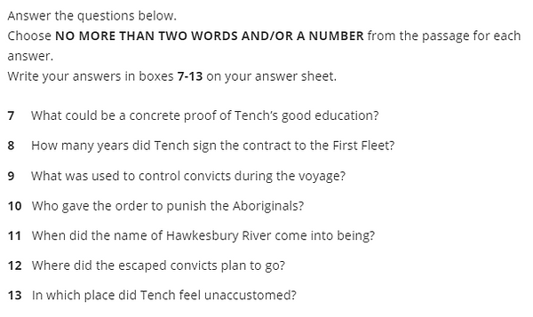 IELTS Reading Short Answer Question