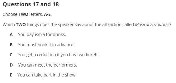 IELTS Listening Multiple Choice Question example 2