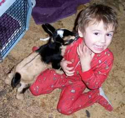 Tristan with baby buck.