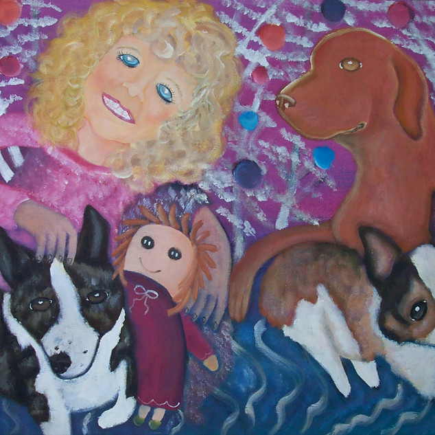 Lucy in the Living RooLittle Girl with Corgis and Vizsla