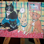 Portrait of Ms. Cat, Minou, Allie, and Boomer