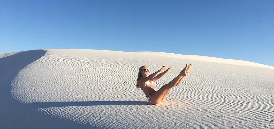 Jen performing a teaser in the desert