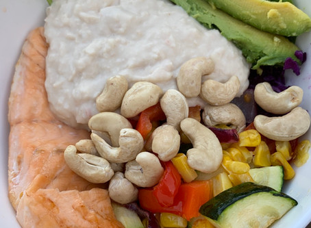 White bean & salmon salad bowl