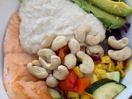 White bean & salmon salad bowl