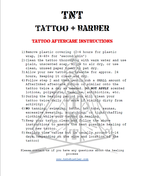 Tattoo Aftercare TNT Whistler