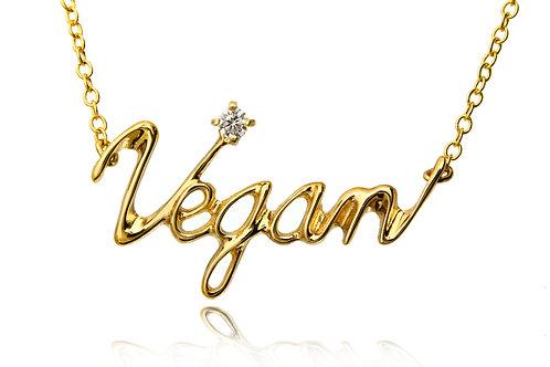 Necklace Vegan   18K GOLD + DIAMOND Round 0.1ct