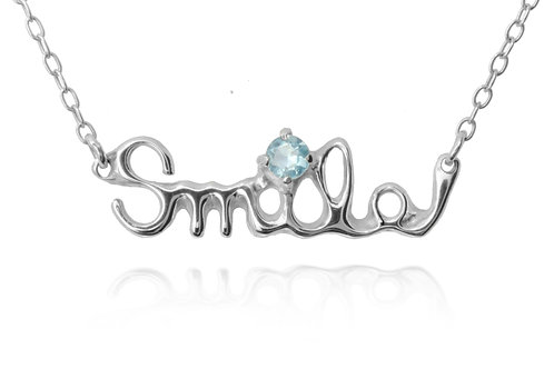 Smile  Necklace Sterling SILVER 925 +AQUAMARINE 0.1ct
