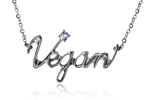 Vegan  Necklace Surgical stainless steel 316L +PINK SAPPHIRE