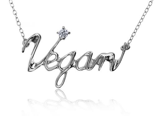 Vegan Necklace Silver 925 + DIAMOND round 0.1ct