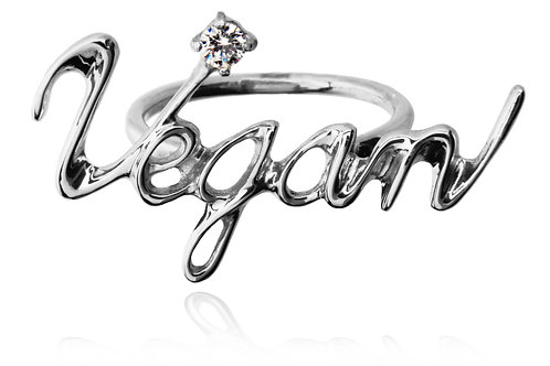 Vegan Ring Silver 925 + DIAMOND Round 0.1ct ***********************