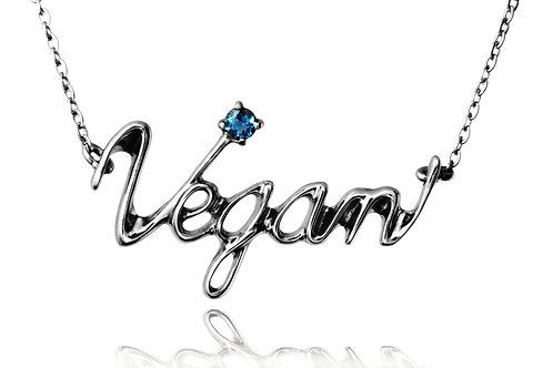 Vegan  Necklace Surgical stainless steel 316L + London blue topaz