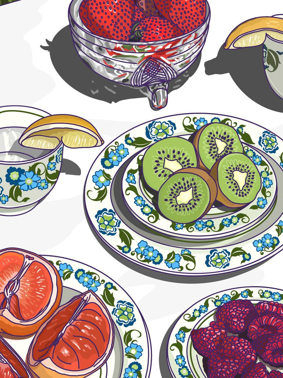 Alice L Clark Food Illustration Afternoon Tea