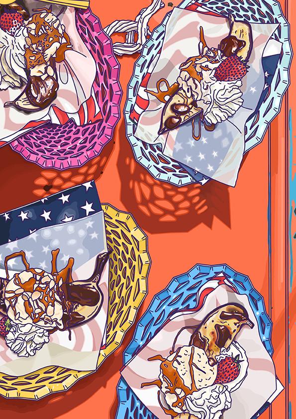 Alice L Clark Food Illustration Banana Split