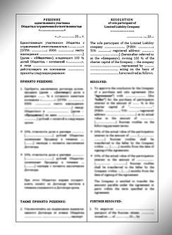 Решение единственного участника ООО / Resolution of LLC Sole Participant | www.smart-lawyer.ru