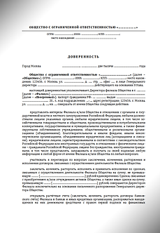 Генеральная доверенность - Директор филиала (www.smart-lawyer.ru)