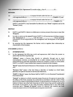 Shareholders' Agreement (English) / Акционерное соглашение (Английское право) | www. smart-lawyer.ru