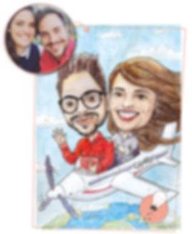 caricatura retrato pareja