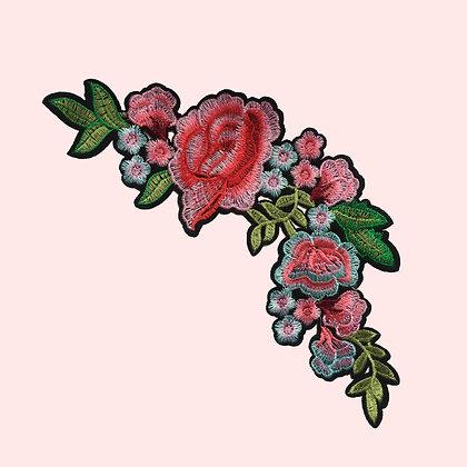 Patch thermocollant couronnes fleurs vieux rose