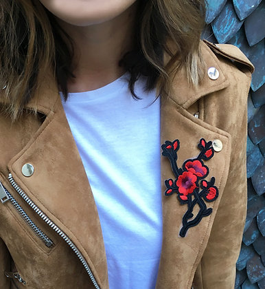 Patch thermocollant tige fleurs rouges