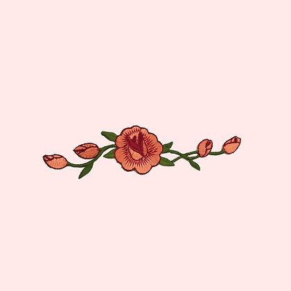 Patch thermocollant lierre de roses coloris orange