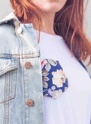 Poche thermocollante Fleur Vintage bleue