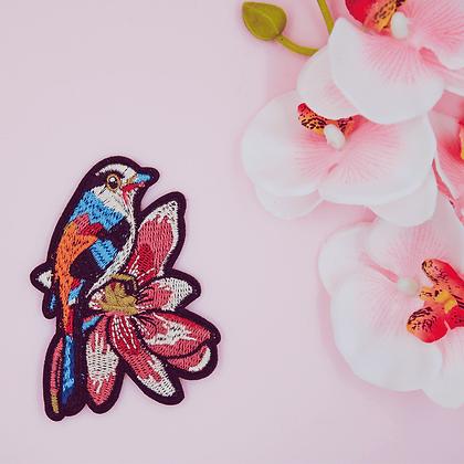 Patch thermocollant oiseau coloré fleurs