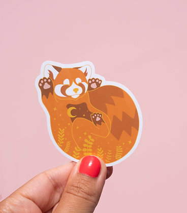 Sticker Panda roux