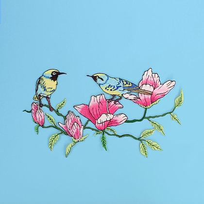 Patch thermocollant : oiseaux et fleurs