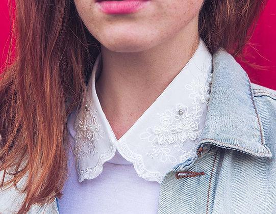 Col de chemise amovible blanc et strass