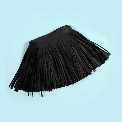 Frange cuir noir