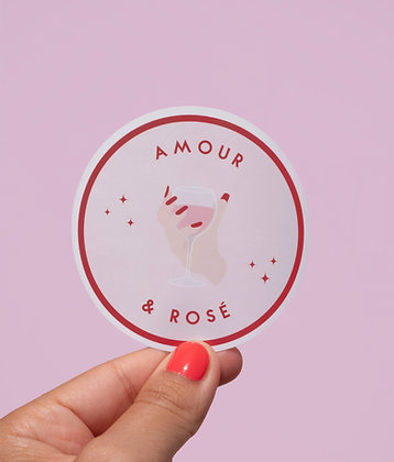 Sticker Amour & rosé