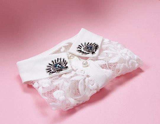 Col de chemise amovible dentelle bijoux