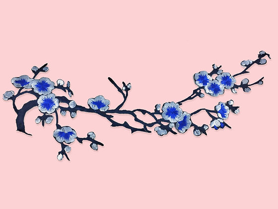 Patch thermocollant floral cherry blossom bleu