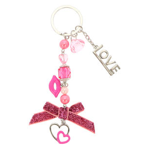 Beaded Keyring with Heart Charm
